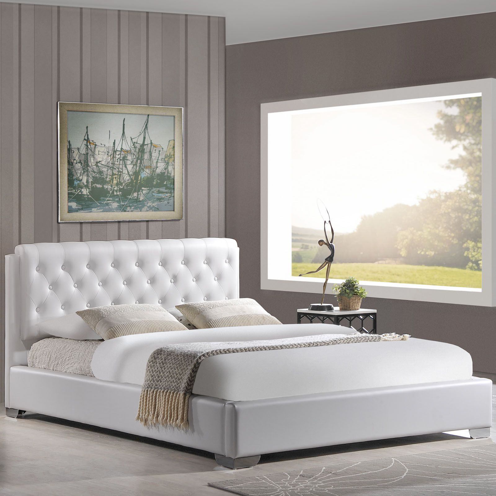 Anne Queen Bed Frame Upholstered platform bed queen