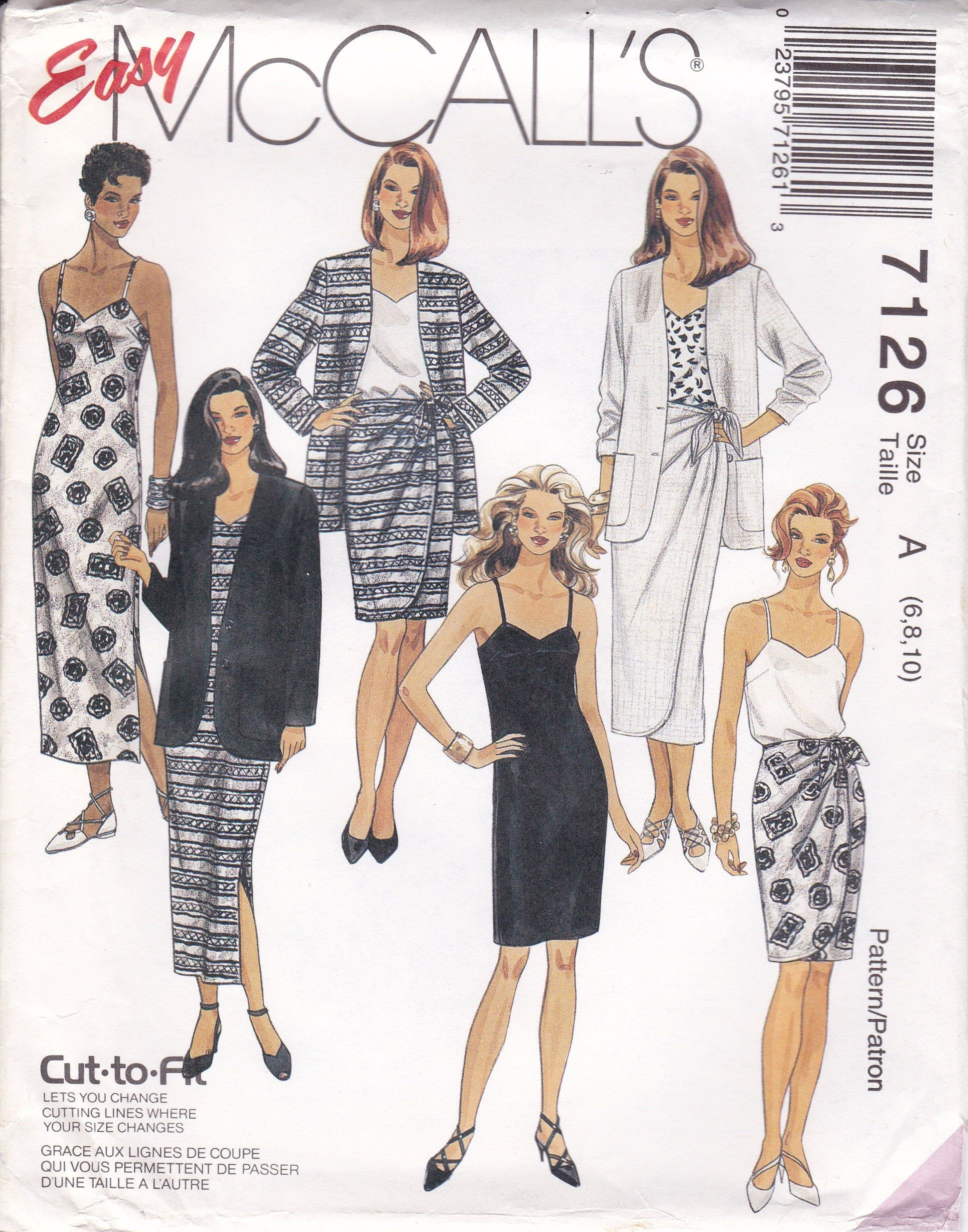 Mccalls Sewing Pattern For Slip Dress Jacket Sarong Skirt Camisole