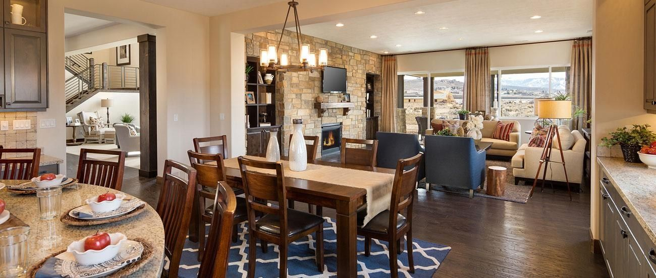 A Stone Accent Wall Defines Great Room With Mountain View New Homes In