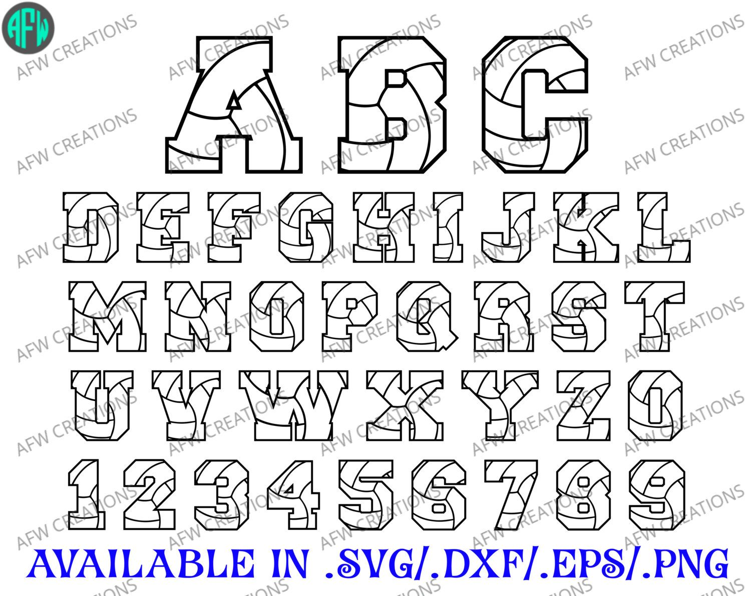 Digital Cut Files, Volleyball Letters & Numbers, SVG, DXF