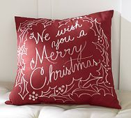 we wish you a merry christmas outdoor pillow pottery barn - Christmas Outdoor Pillows