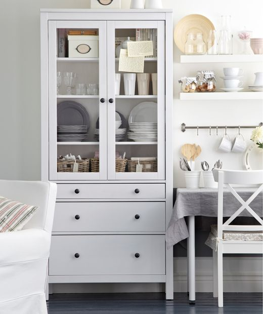 Hemnes Glass Door Cabinet With 3 Drawers White Stain Closet Envy