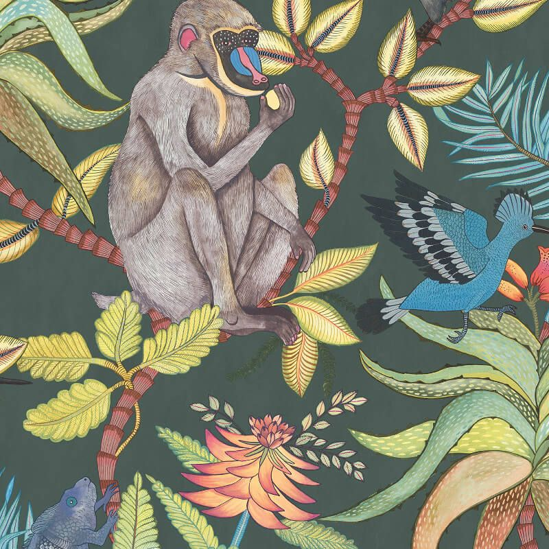 An Exciting African Jungle Inspired Wallpaper Design In Dark Petrol