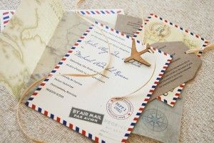 Vintage Travel Themed Wedding Invitations
