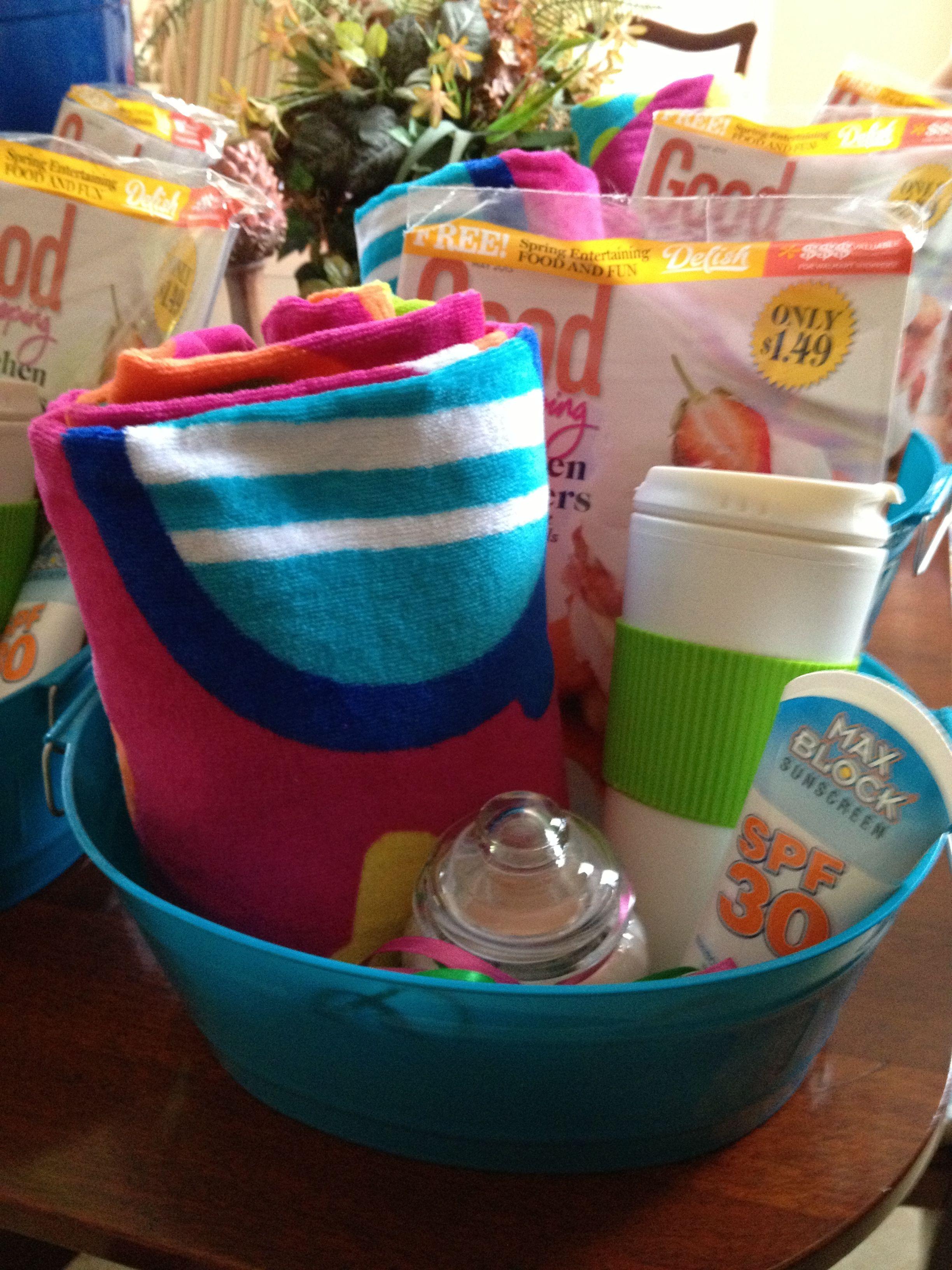 End of year teacher gift towel magazine sun screen