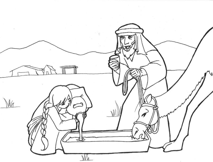 Genesis Sunday School Coloring Page Rebekah Watering Abrahams Servants Camel 24 By LikeSoTotally