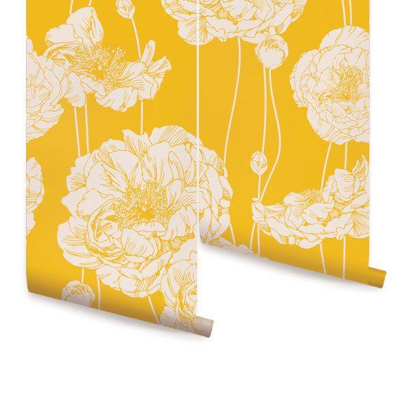 Peony Yellow Peel & Stick Fabric Wallpaper Repositionable ...