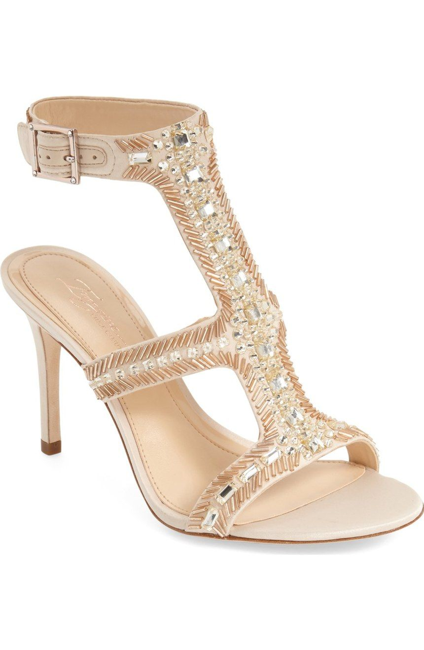 7654d43264a Free shipping and returns on Imagine Vince Camuto  Price  Beaded T-Strap  Sandal (Women) at Nordstrom.com. Crystal and bead embellishments highlight  a satin ...