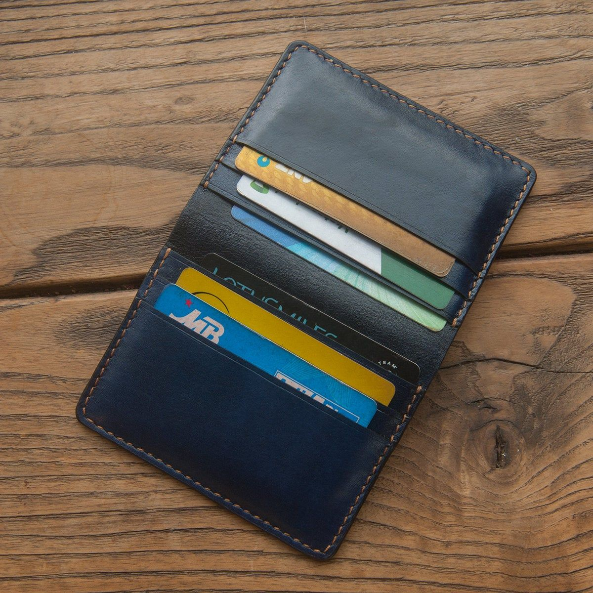 Business Card Case Handmade Blue Leather Wallet Card Holder Custom Engraved Personalized Wallet Corporate Gifts Groomsmen Gift