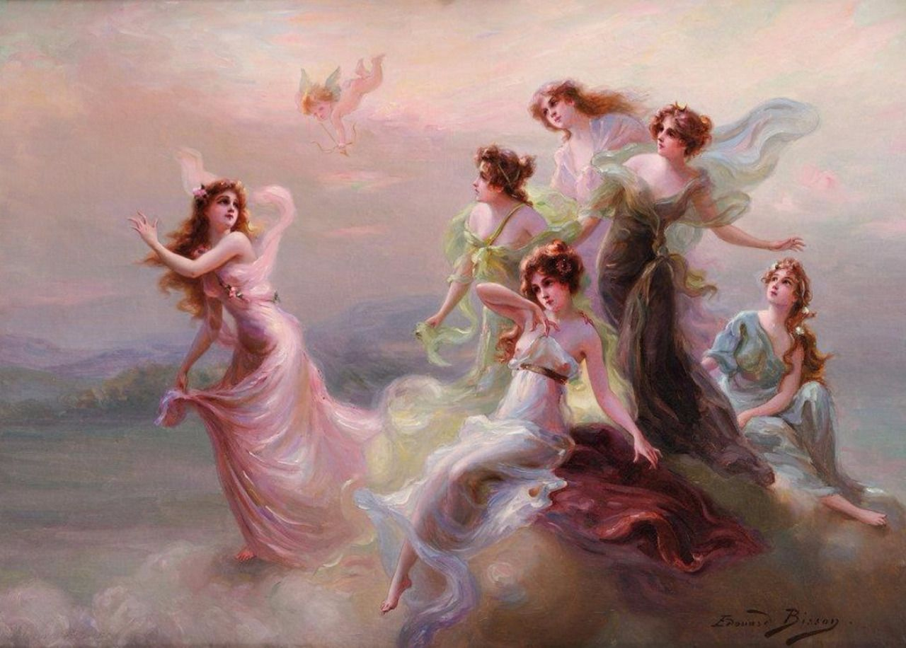 Love's Messengers  by Edouard Bisson   Paper Print Repro