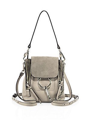 8f0fddc4cb411 Chloé Small Faye Leather   Suede Backpack - Motty Grey