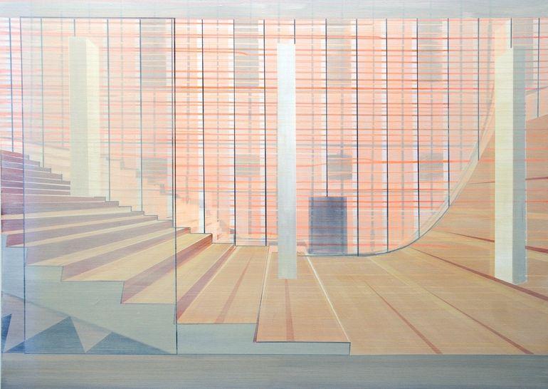 """Saatchi Online Artist: Cécile van Hanja; Oil, 2009, Painting """"Staircase"""""""