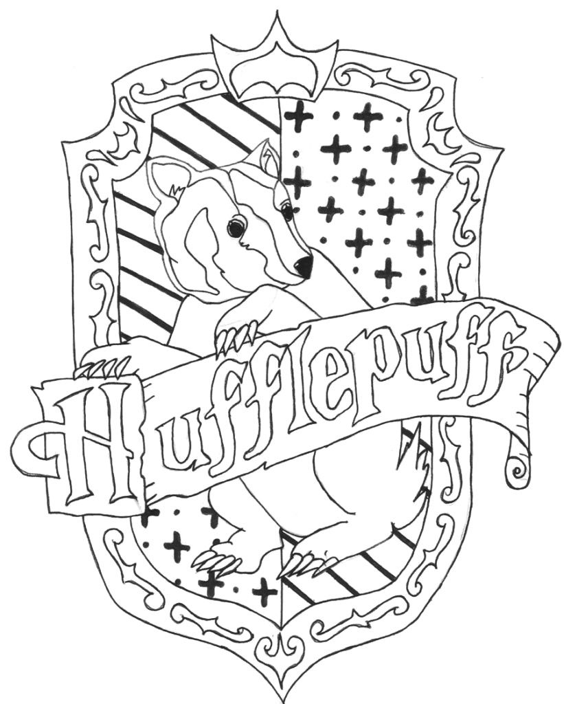 Remarkable Hufflepuff Crest Coloring Page Decor Pinterest Harry