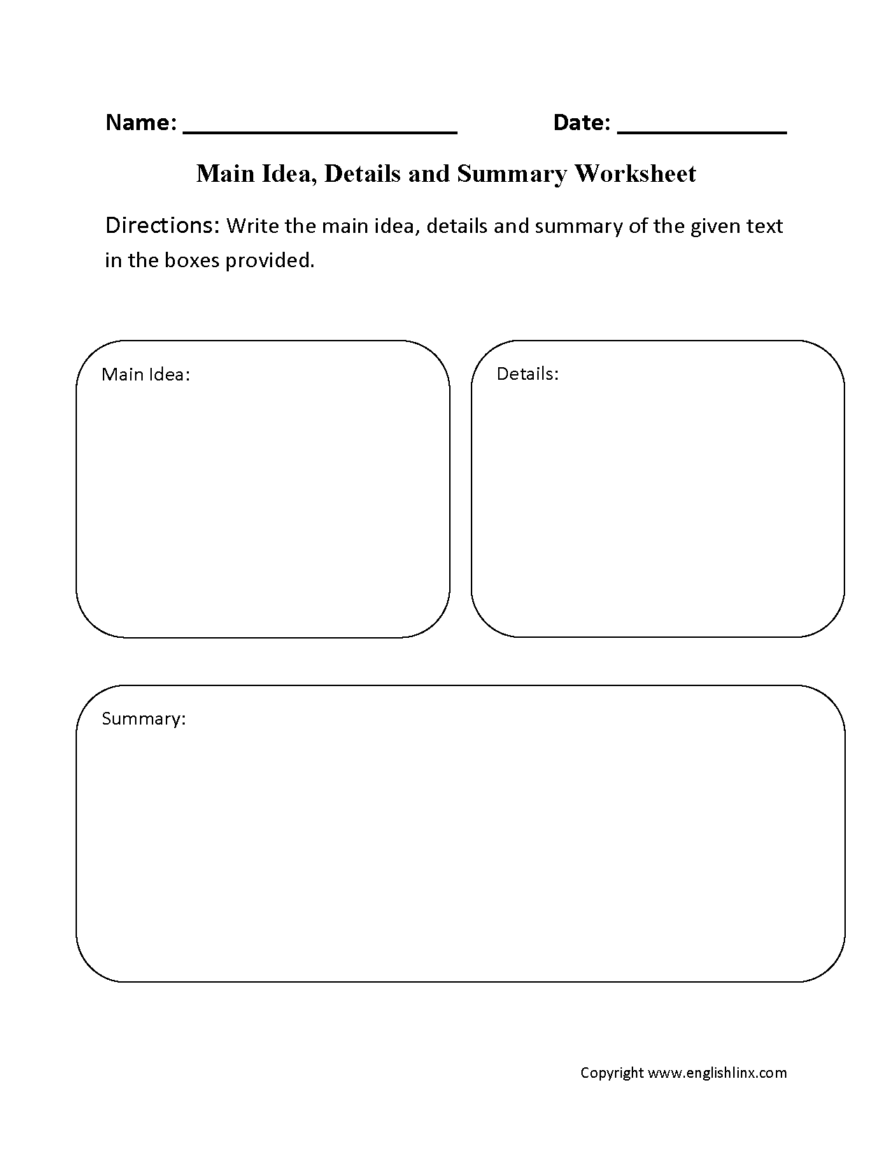 Main Idea Details And Summary Worksheet