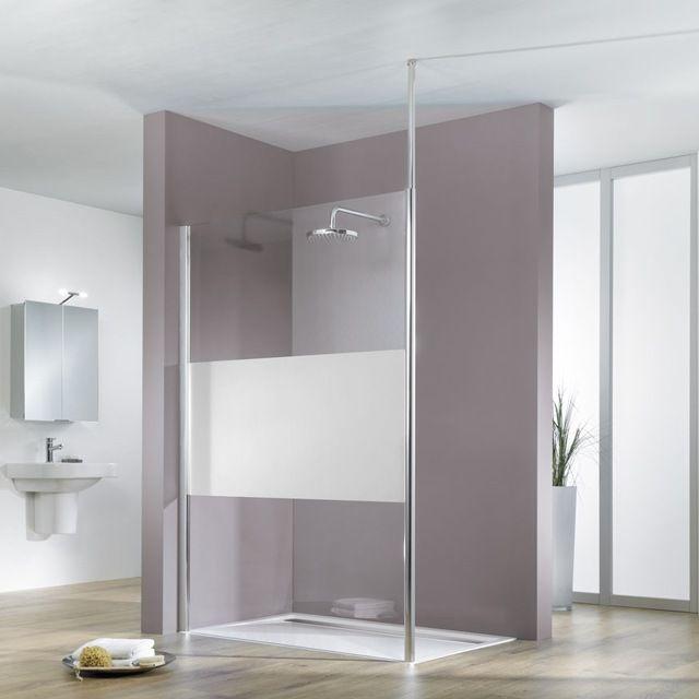 Paroi De Douche Verre Décor Design 120 Cm Walk In Solo Light   CASTORAMA