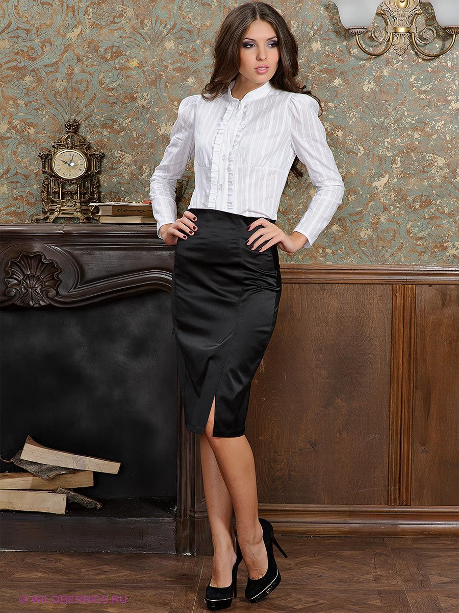 White Blouse Black Satin Pencil Skirt Sheer Pantyhose and Black ...