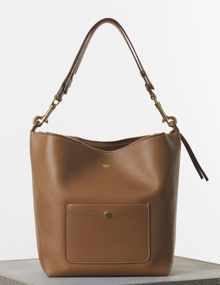 Céline Medium Zipped Hobo Handbag in Tan Natural Calfskin