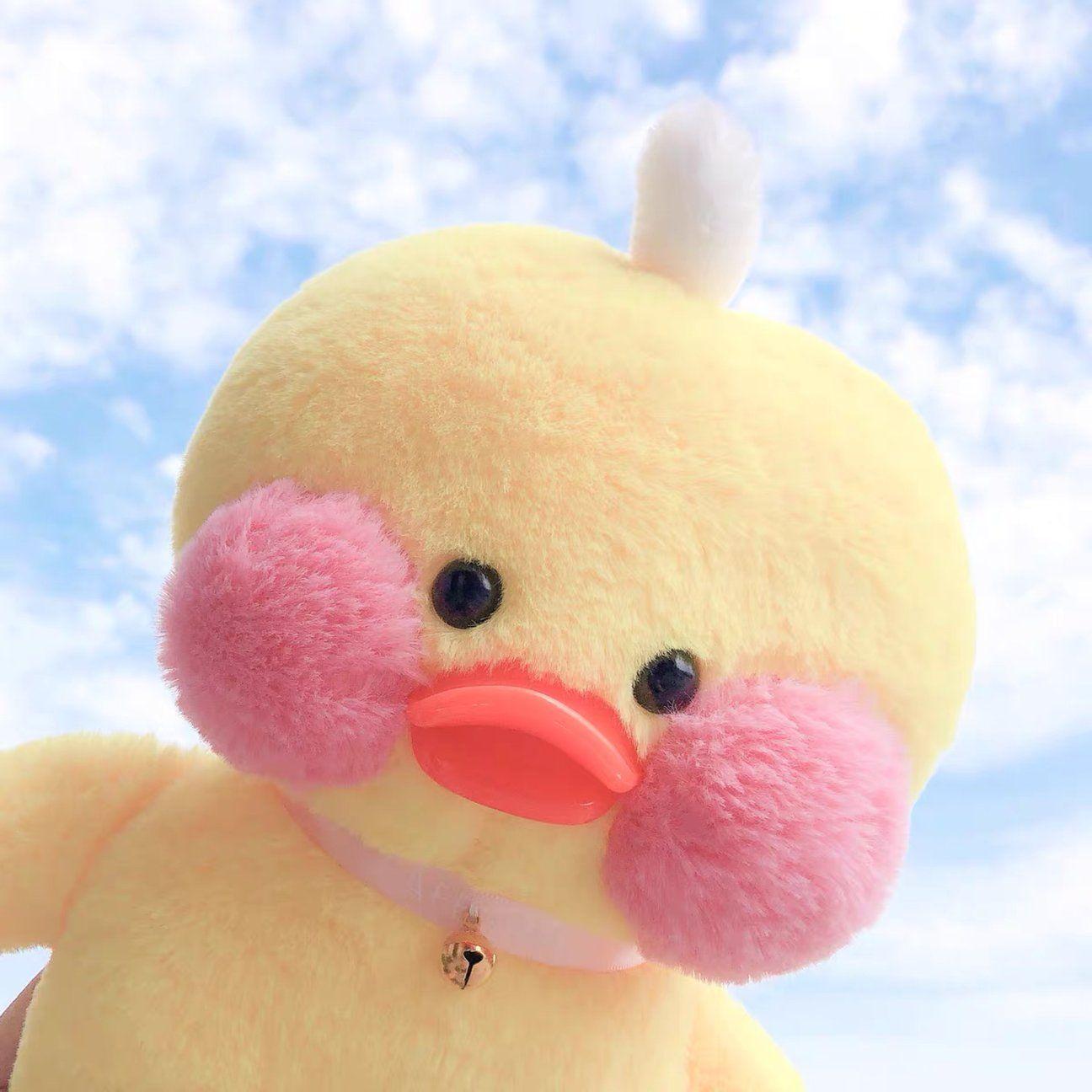 Kawaii LaLafanfan Cafe Yellow Duck Plush Toy Birth