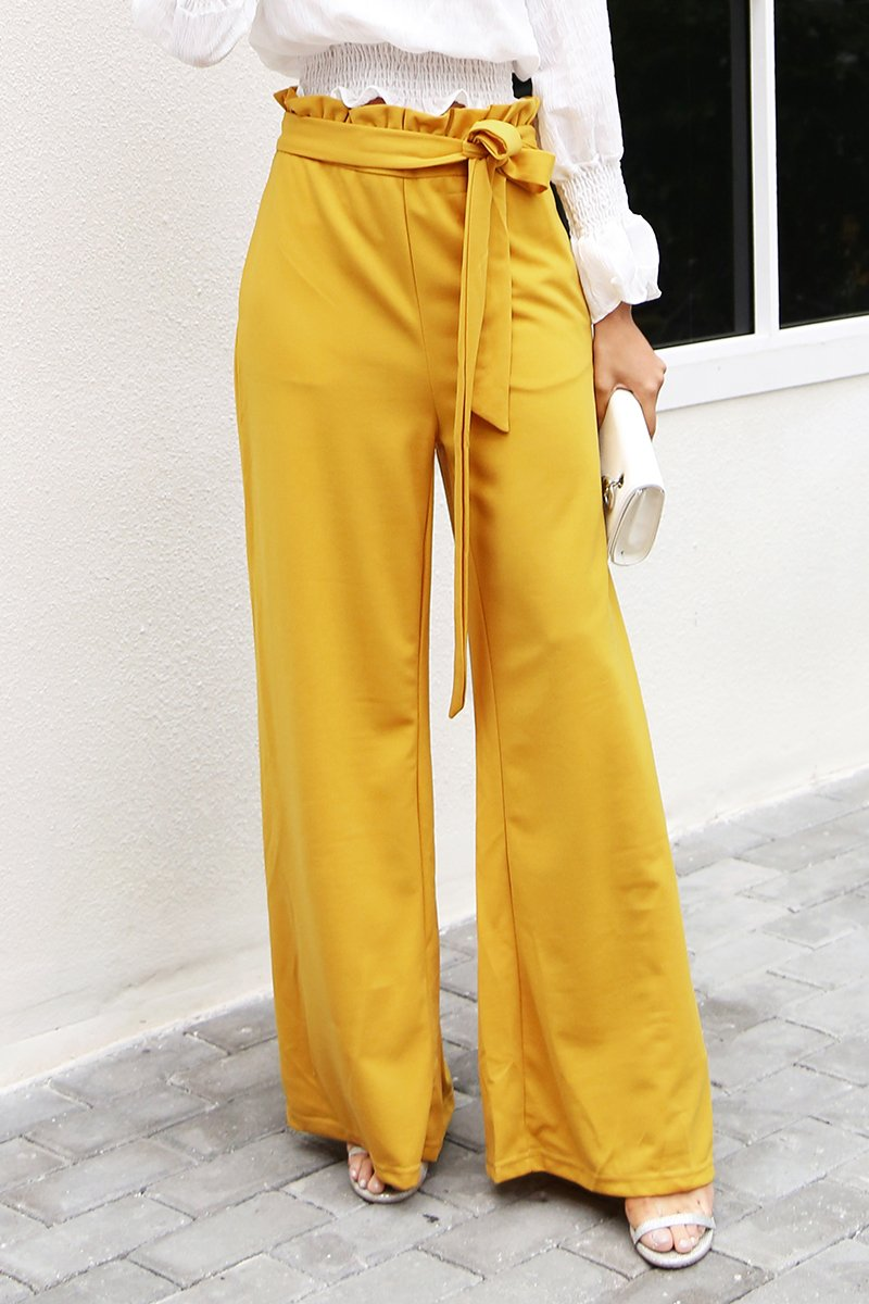 a0b9fab036 High Waist Casual Pants women bottom Sashes loose wide leg pants female  winter pants streetwear trousers Material: Polyester,Spandex Fit Type:  Loose Closure ...