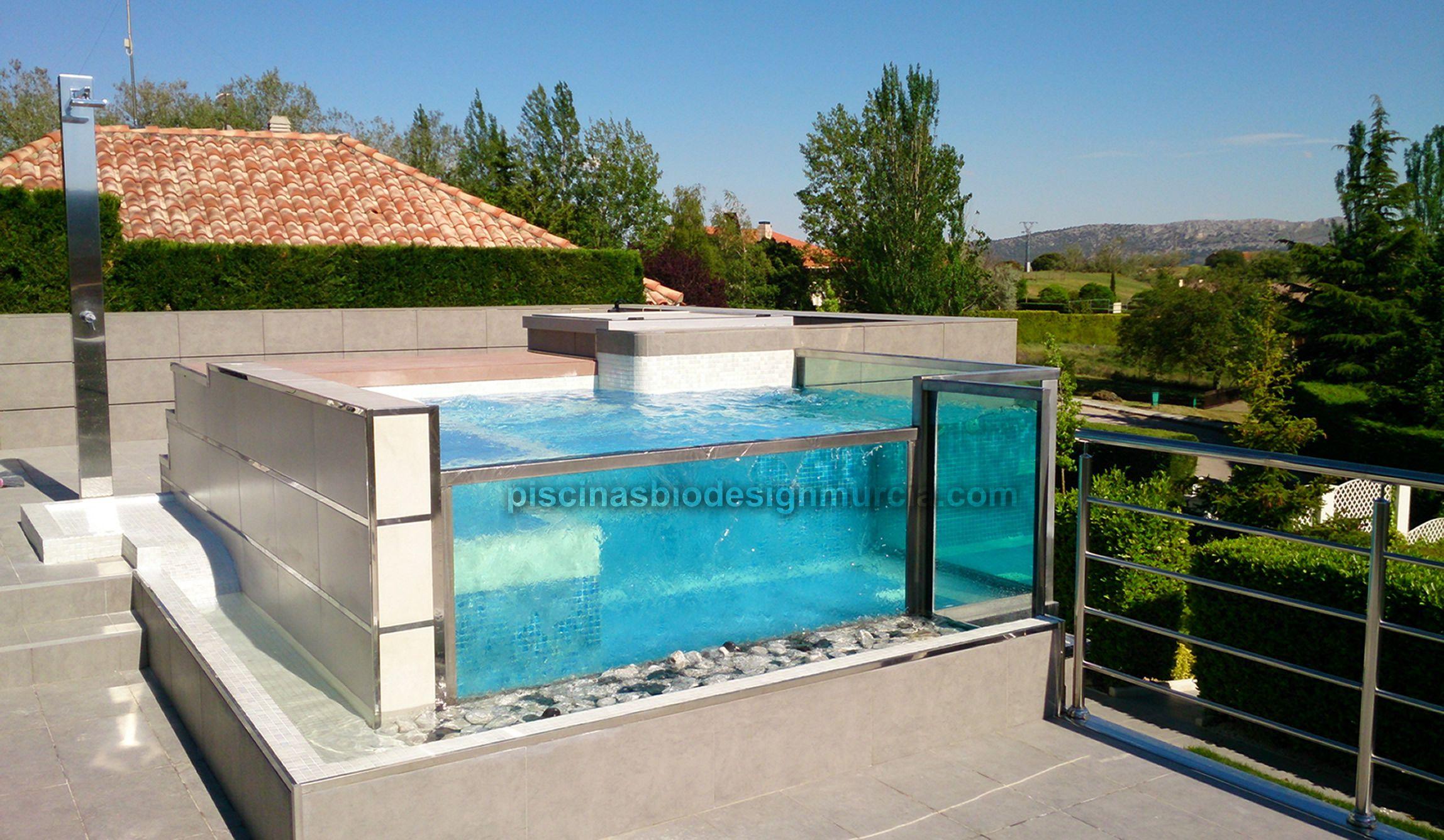 Piscina de cristal desbordante arquitectura piscinas - Piscina de cristal ...