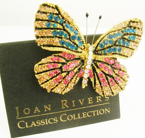 joan rivers multi color butterfly brooch 2 bluepink - Color Butterfly 2