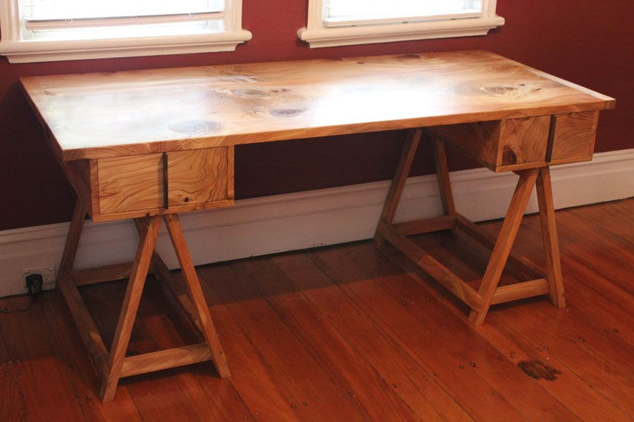 Custom Made Desk Himalayan Pine With Queen Ebony Drawer Handles Danish Oil And Wax
