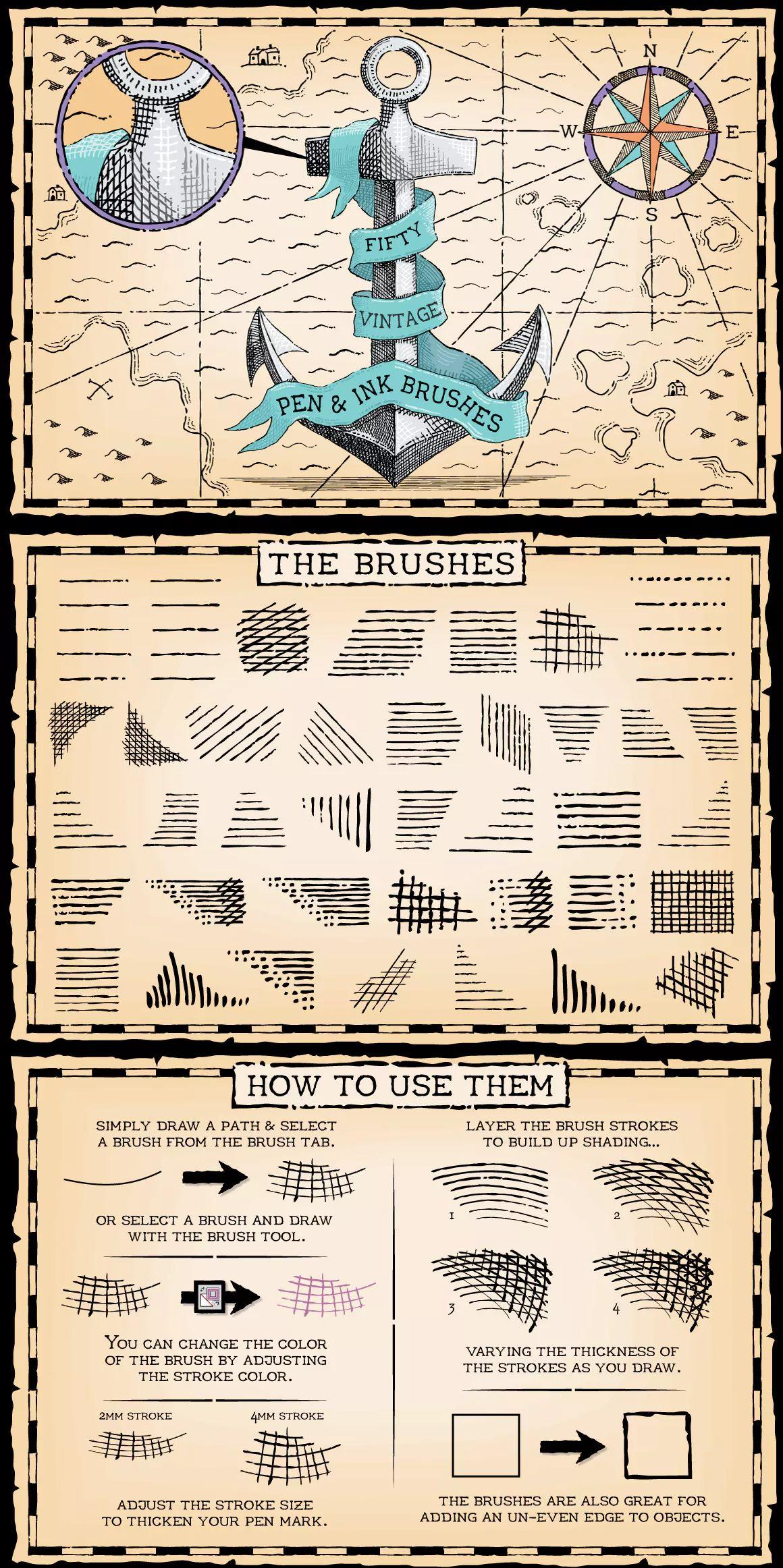 Vintage Pen and Ink Brushes for Adobe Illustrator