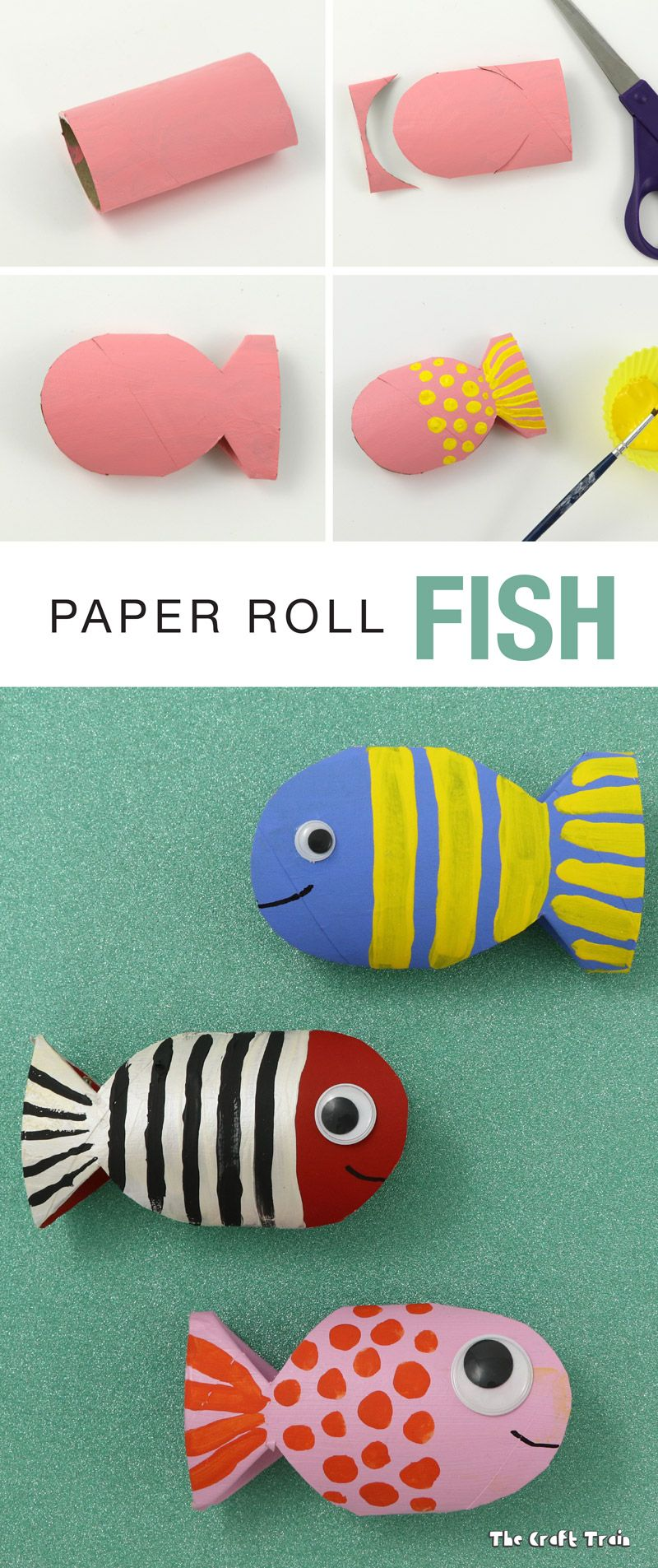 Paper roll fish recycling craft #recycledcrafts