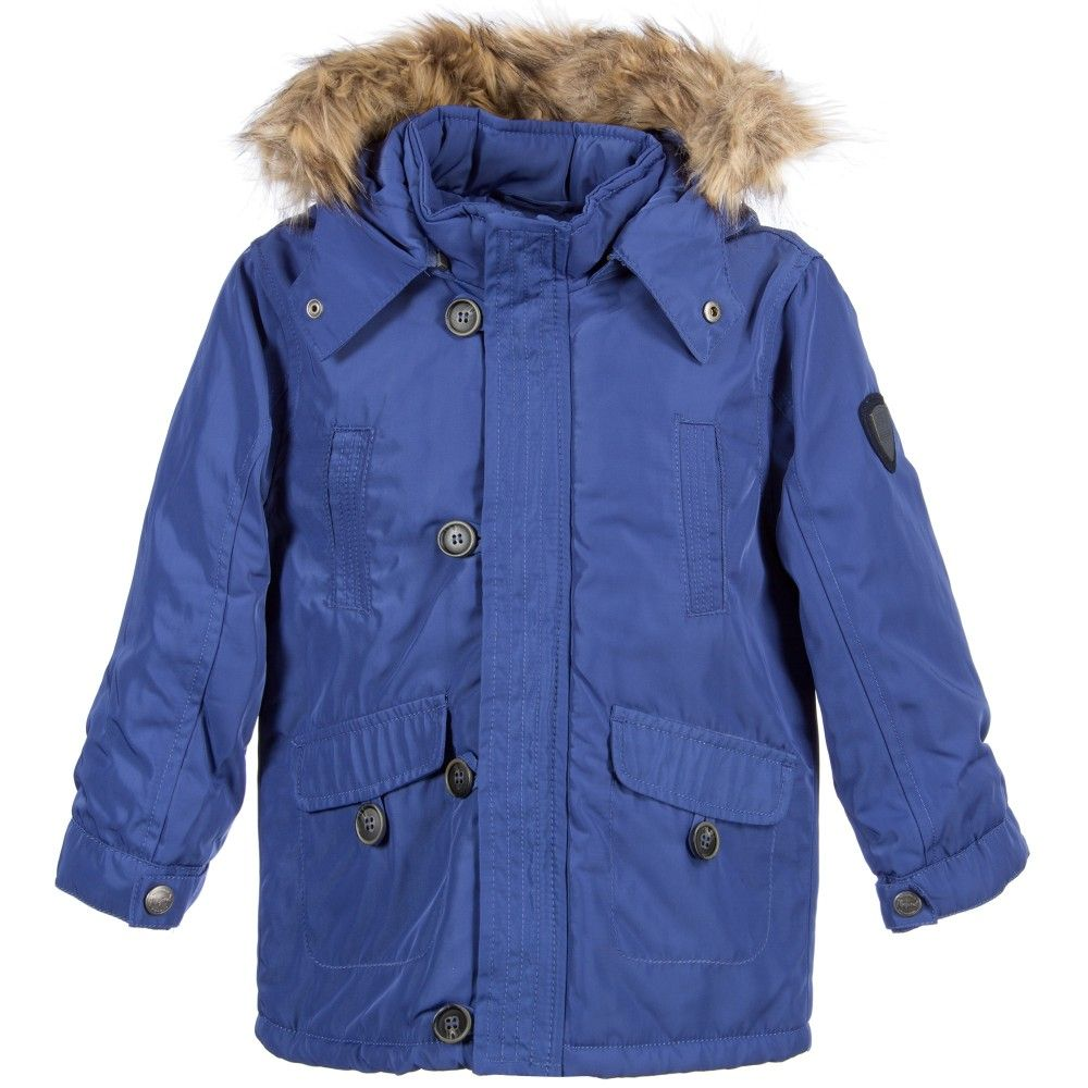 Boys Parka Light Blue Coat with Fur Hood, Mayoral, Boy | JACKETS ...