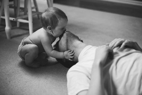 Baby Beautiful Black White Child Cute Dad Family Father