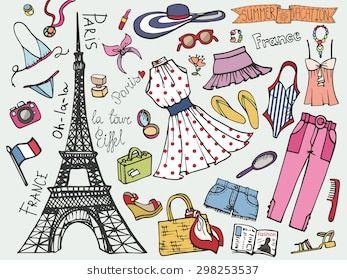 23e85e4d49ae Summer Fashion illustration.Doodle Paris France Eiffel tower fashionable  women dress