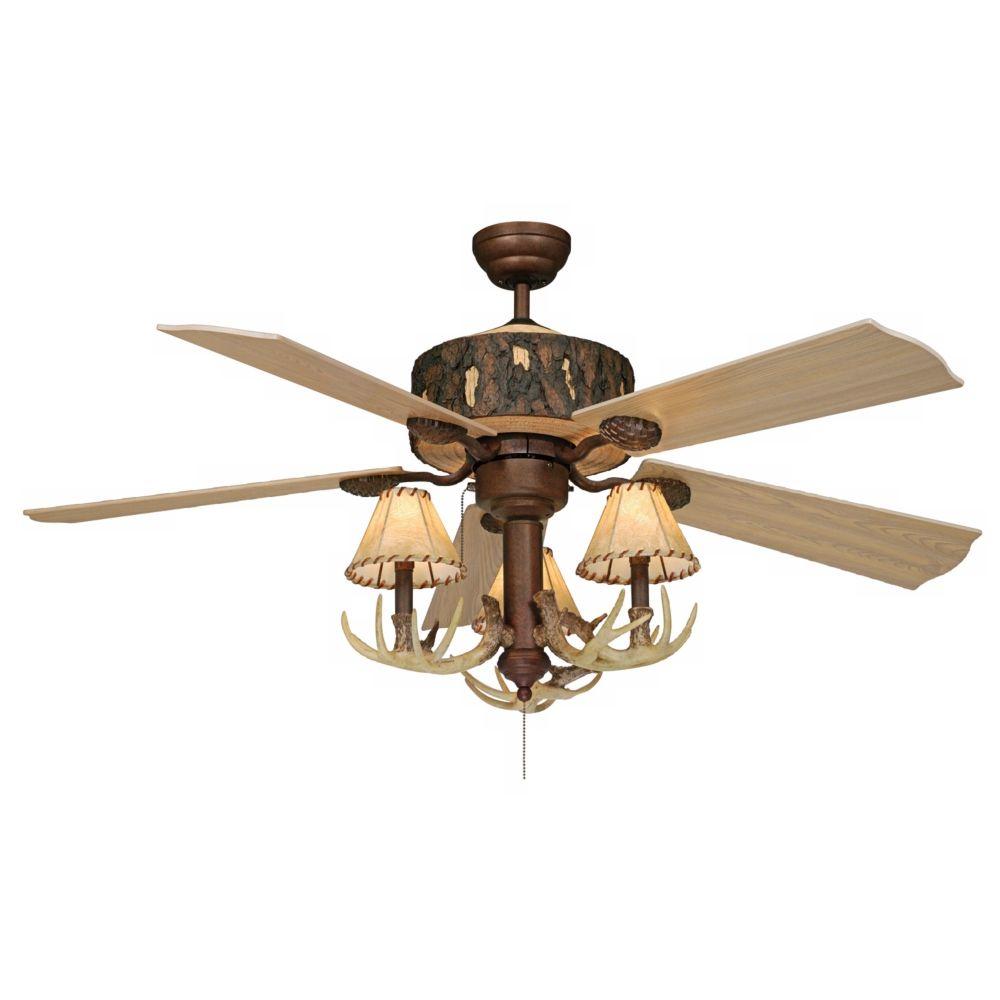 52 Vaxcel Log Cabin Ceiling Fan With Antler 3 Light Kit Style 27m02 Rustic Ceiling Fan Ceiling Fan Rustic Chandelier