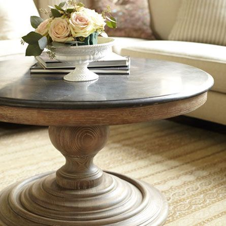Piero 36 Round Coffee Table Fro Arhaus For The Sunroom With Off White Duck Cotton