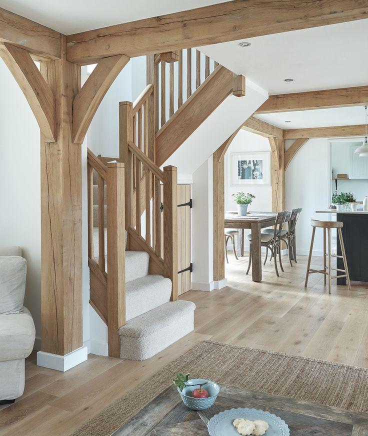 Border oak open plan with oak stairs timber frame for House plans with stairs in kitchen