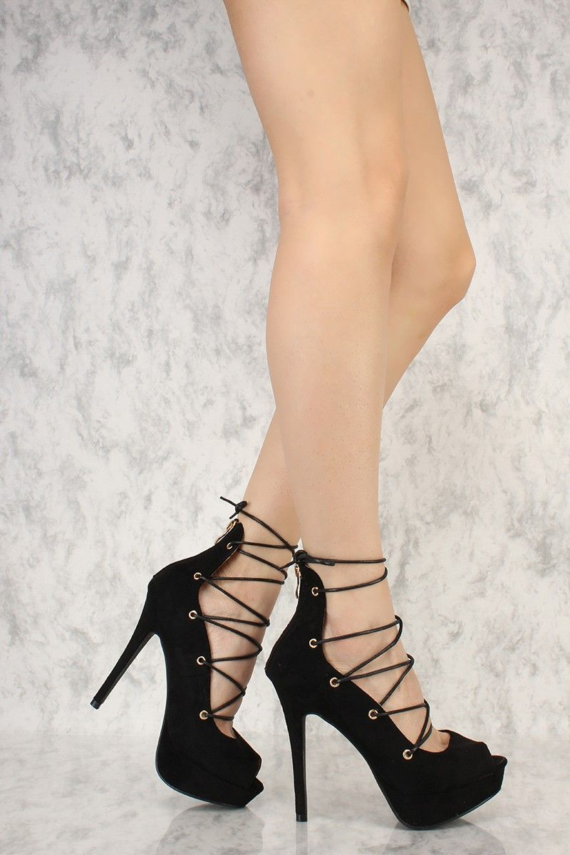 7640a2b9b82 Black Strappy Peep Toe Platform Pump High Heels Faux Suede