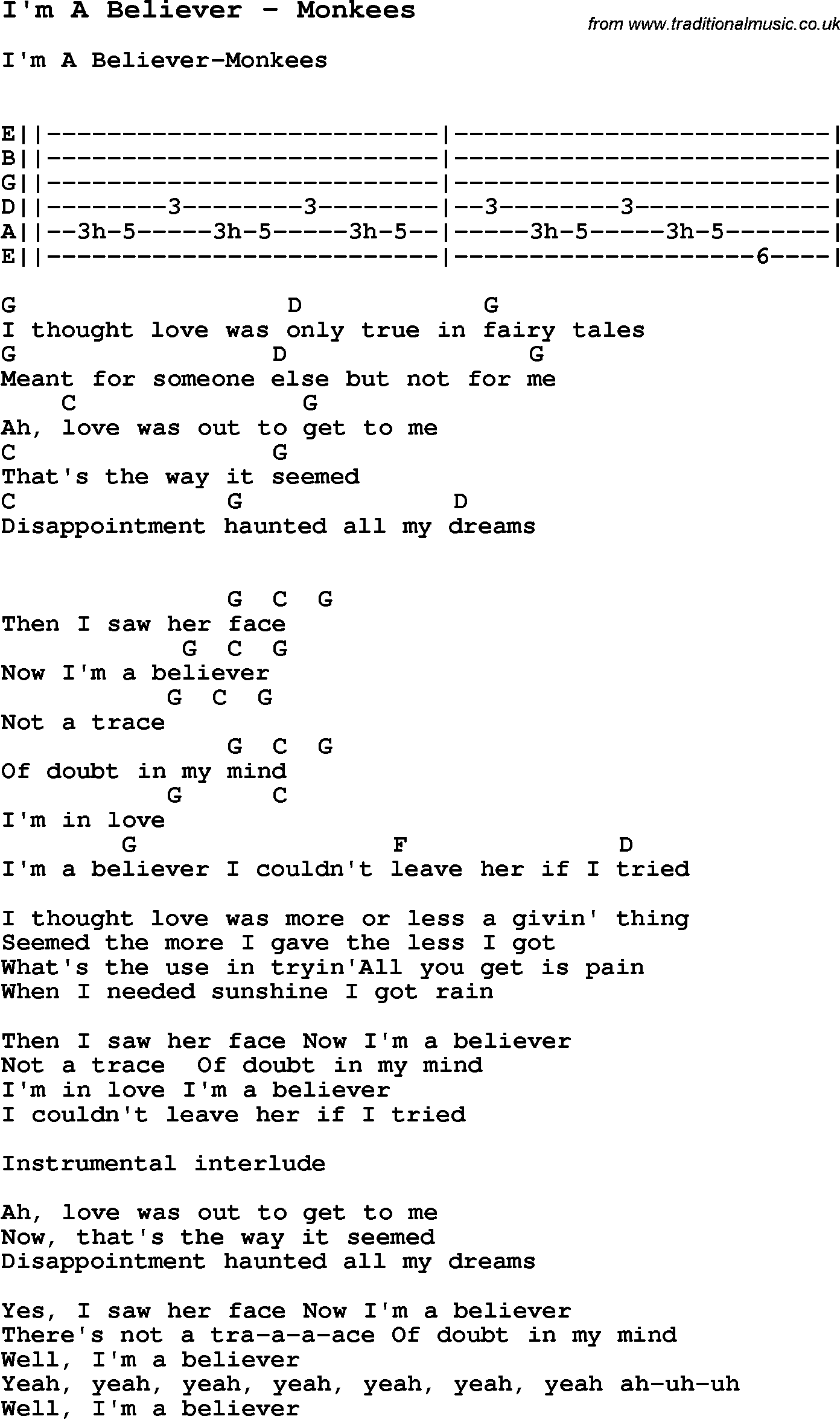 Song Im A Believer By Monkees With Lyrics For Vocal Performance