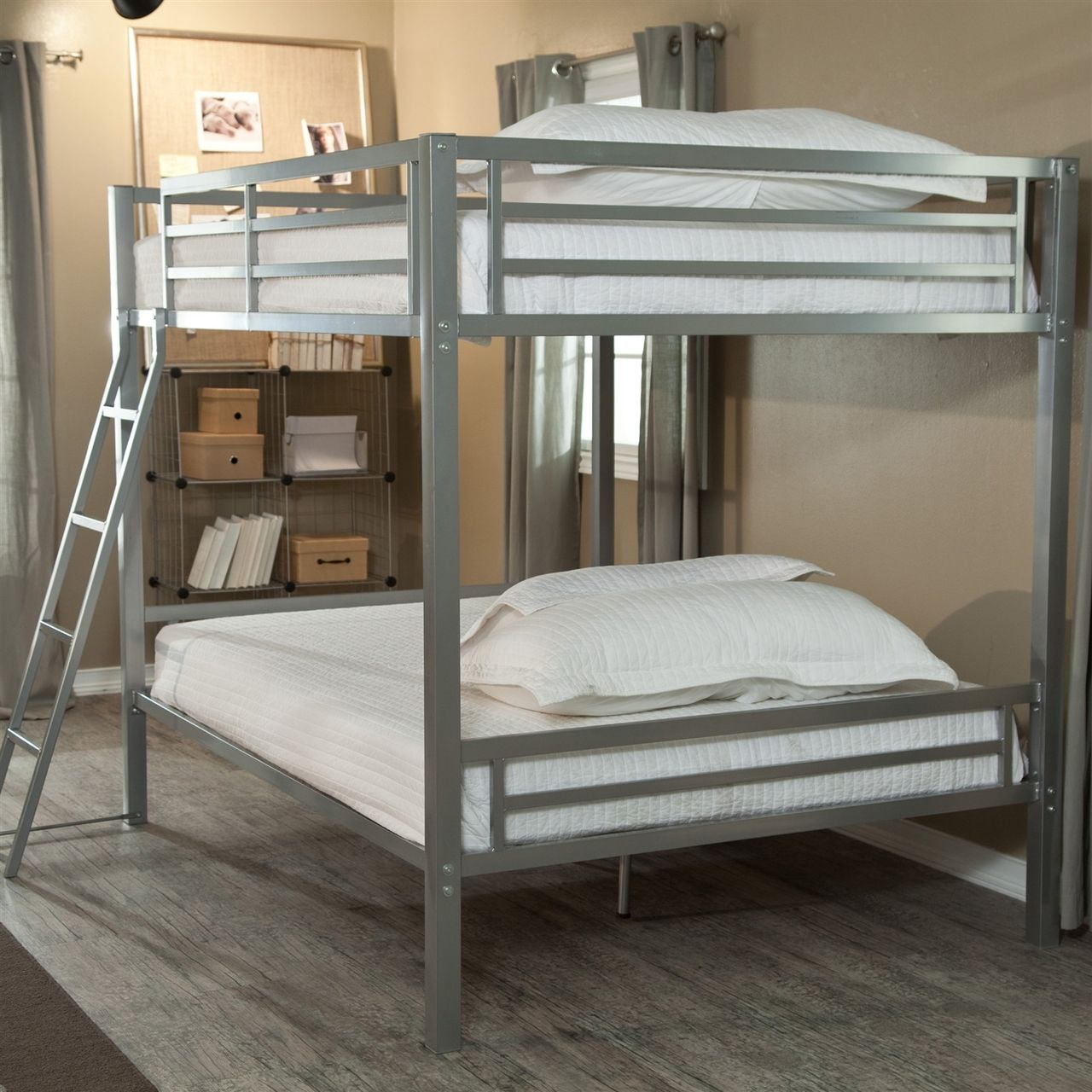 Full over Full Bunk Bed with Ladder in Silver Metal Finish
