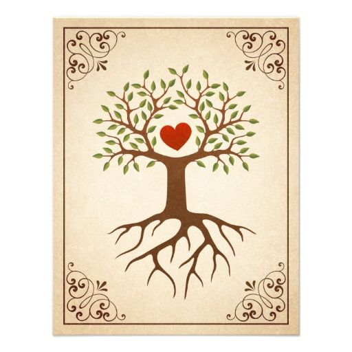 Tree with heart ornate frame family reunion invite Family reunion