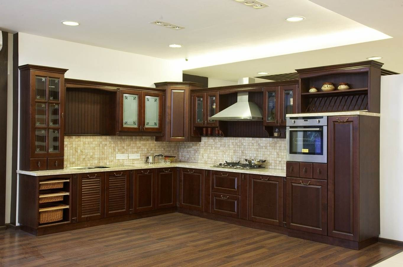 Modular kitchen with Solid-wood finish, Classic/traditional design ...