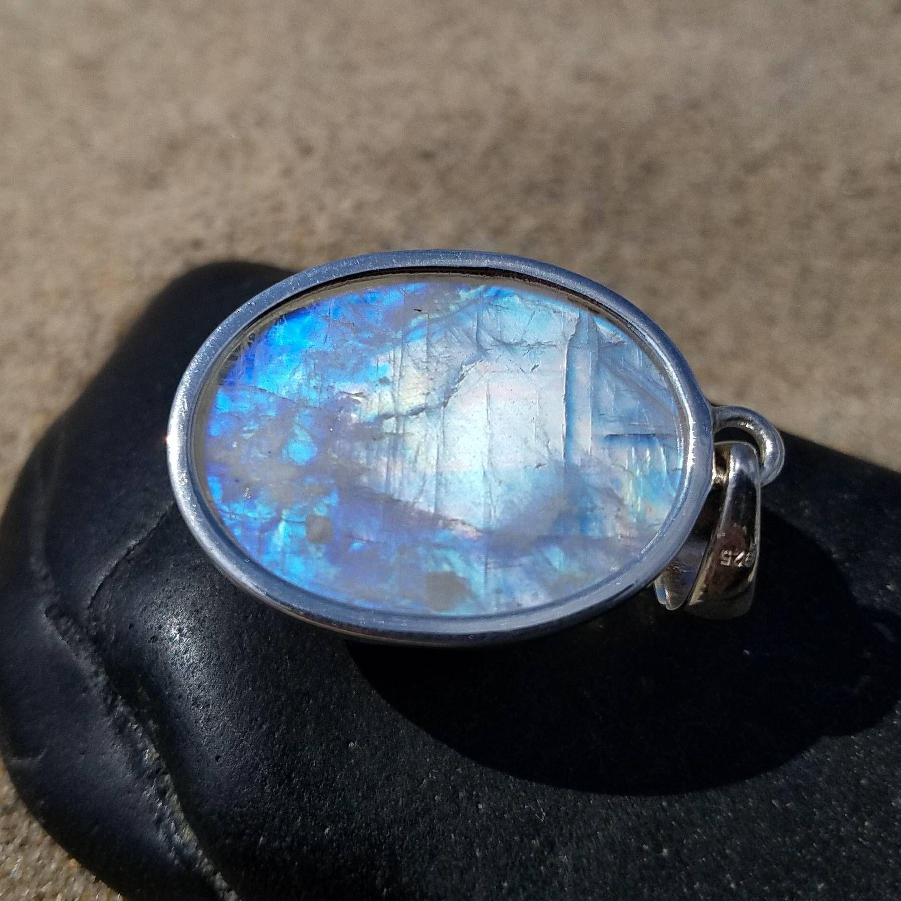 Rainbow Moonstone Sterling Silver Pendant Ethereal Unicorn Glow