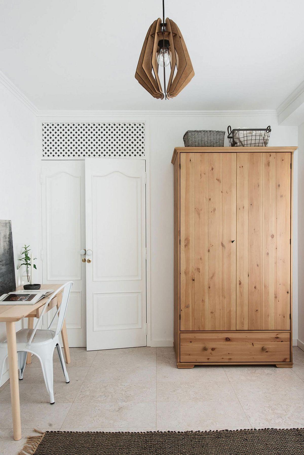 Bedroom workspace and wooden wardrobe Serenely Scandinavian