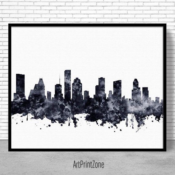 Houston print houston skyline houston texas office decor office wall art