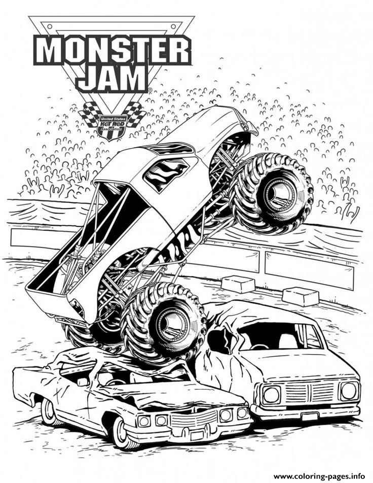 Print Grave Digger Monster Jam Truck Coloring Pages Monster