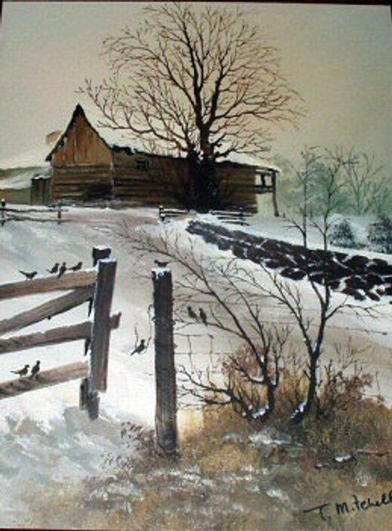 Winter Snow Flying Birds Scene Oil Painting Rural Home