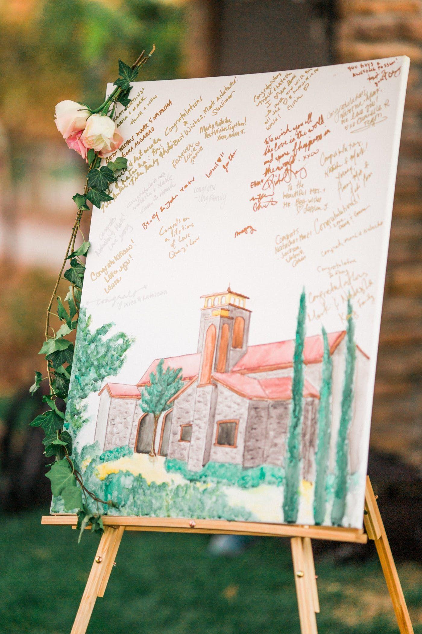 Custom Wedding gift Wedding Guest Book alternative painting Custom Wedding Venue watercolor painting Venue drawing from photo