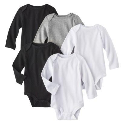 Circo® Newborn 5 Pack Long-sleeve Bodysuit - White/Grey/Black.