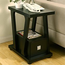 Furniture Of America Naudine Contemporary Black Living Room Sofa End Table  Narrow Side Table