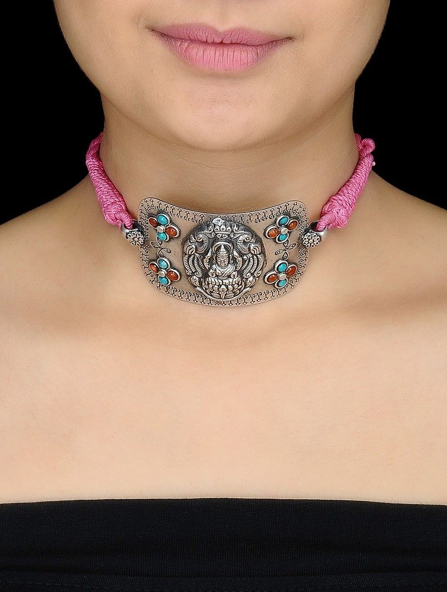 Buy Pink Thread Silver Armlet cum Necklace with Goddess Lakshmi Motif Online at Jaypore.com