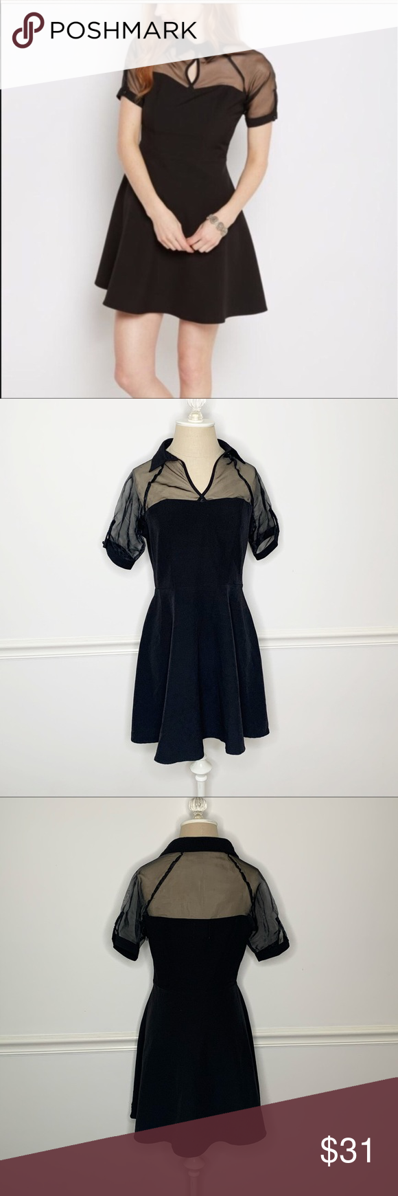Wild Blue X Sadie Robertson Fit And Flare Dress Adorable Black Dress With A Flare Skirt Collared Neckline With A S Fit And Flare Dress Flare Dress Flare Skirt [ 1740 x 580 Pixel ]