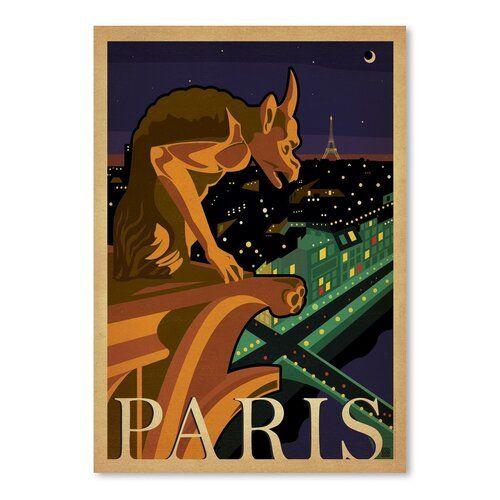 Photo of Americanflat Leinwandbild WT Paris Gargoile, Retro-Werbung   Wayfair.de